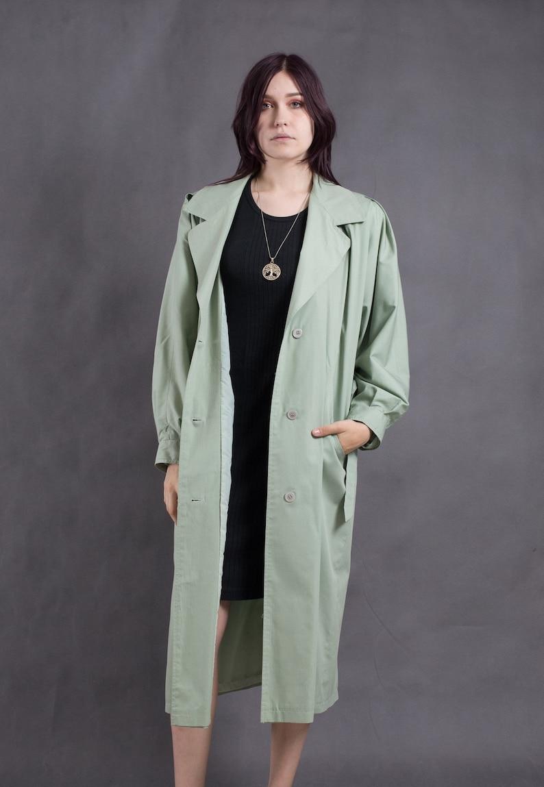 90s Womens mint long coat \u2022 Vintage outerwear \u2022 Oldschool trench