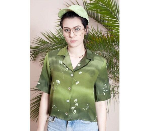 Flowery crop top•Cropped top•90s blouse•Short slee