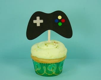 Set Of Game Controller Cupcake And Cake Topper
