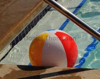 Inflatable Ball in Pool Photo Canvas Print