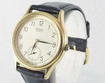 Vintage Seiko Dress Watch Center Second Hand, Gold Tone with New Band
