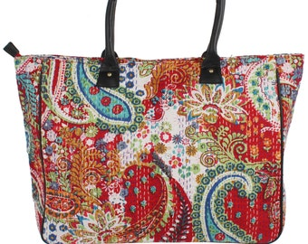 Cotton print kantha work tote tribal bag shopping bag beach bag