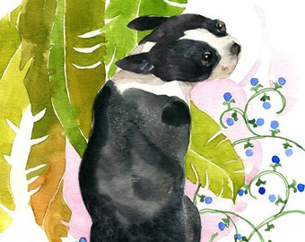 Boston Terrier Watercolor, Boston Terrier Print, Boston Terrier Art, Dog Nursery