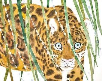 Jaguar Painting, Jaguar Watercolor, Jaguar Print, Jaguar Art, Big Cat Painting, Jaguar Nursery