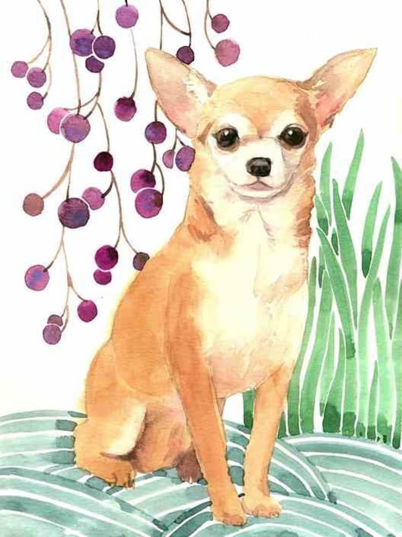 Chihuahua Watercolor, Chihuahua Print, Chihuahua Art, Dog Nursery