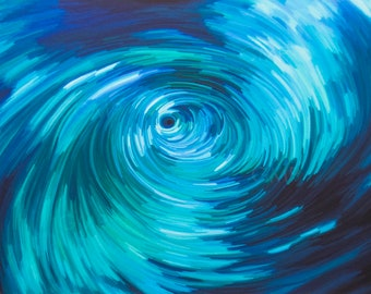 Water Vortex - Swirl, whirlpool, turbulent flow, fluid, liquid, original art, water tube, circular motion, spiral, whirl mass of water
