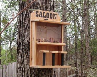 Wooden Saloon Bird Feeder