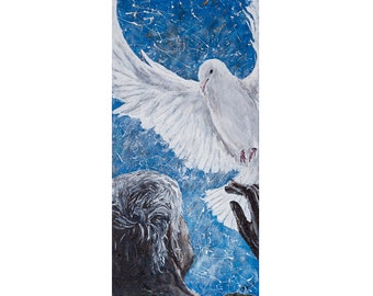 Come Holy Spirit original acrylic painting on canvas, 10x20 artwork