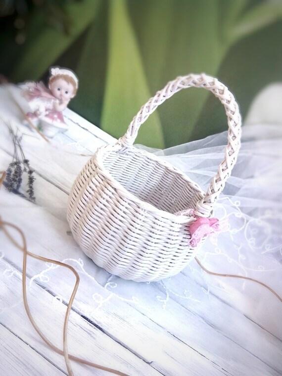 White Wicker Flower Girl Basket Wedding Basket White Small Etsy
