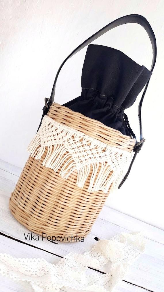 bead49d2dc Wicker bag Macrame bag Jane Birkin basket Round wicker