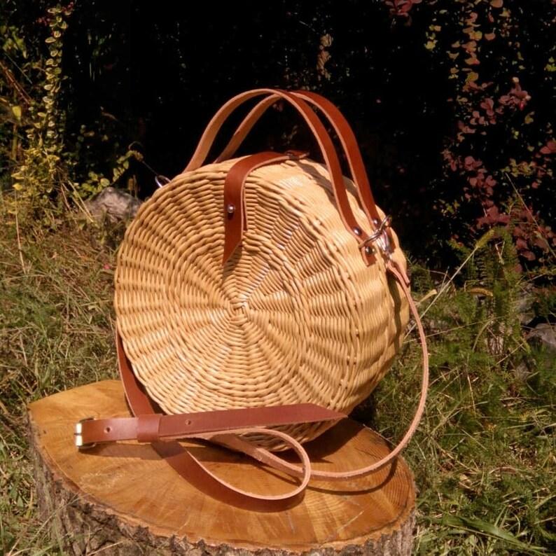 f478e69cda Round bag Wicker bag Leather hobo bag Braided bag Straw