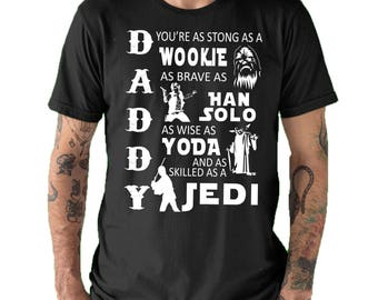 Daddy Jedi Fathers day Gift Starwars Mens T shirt Black All sizes