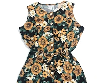 b6c31ea1013d Vintage 1990s Romper Size Medium Sunflower Floral Hippie Festival Playsuit  Sleeveless Button Front Angderson Made in USA