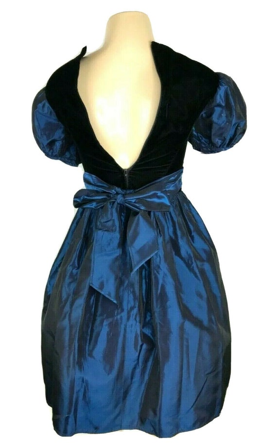 1980s Prom Dress Vintage Black Velvet Iridescent … - image 7