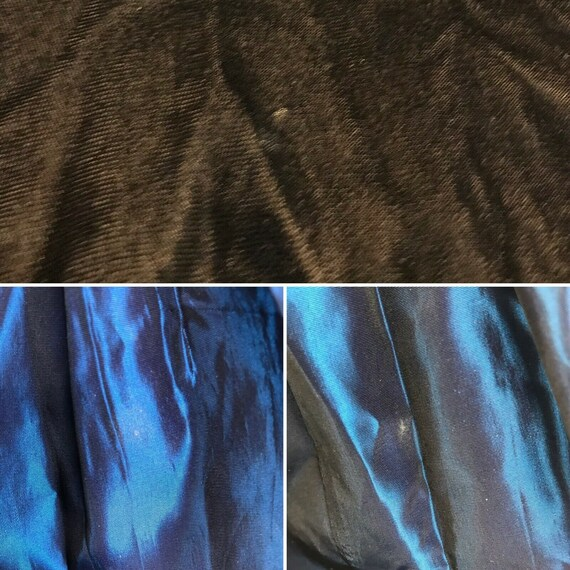 1980s Prom Dress Vintage Black Velvet Iridescent … - image 9