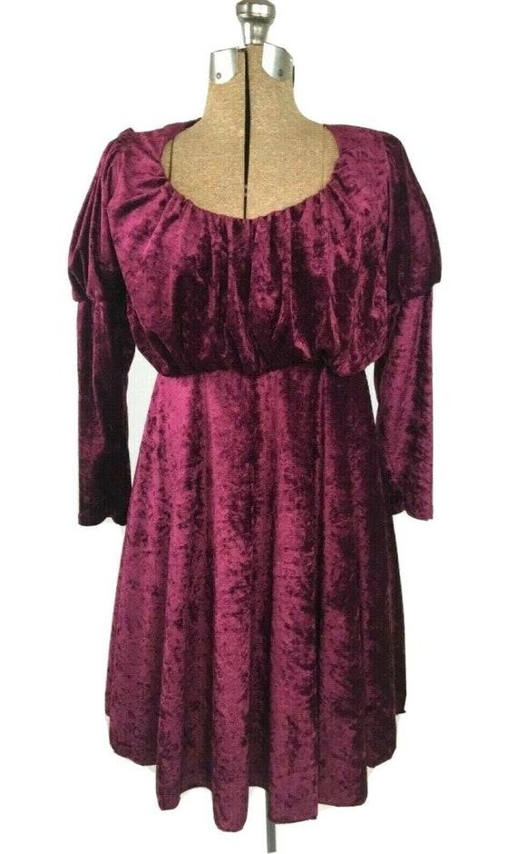 Vintage Crushed Velvet Dress Puff Sleeve Long Slee