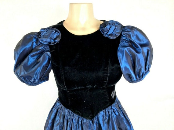 1980s Prom Dress Vintage Black Velvet Iridescent … - image 2