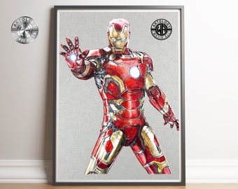 Iron Man Drawing Print A4 - Artology