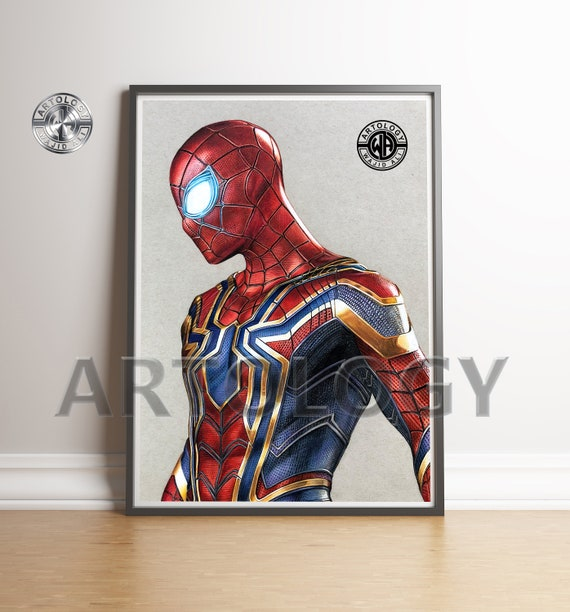 Iron Spider Drawing A4 Print Artology Etsy