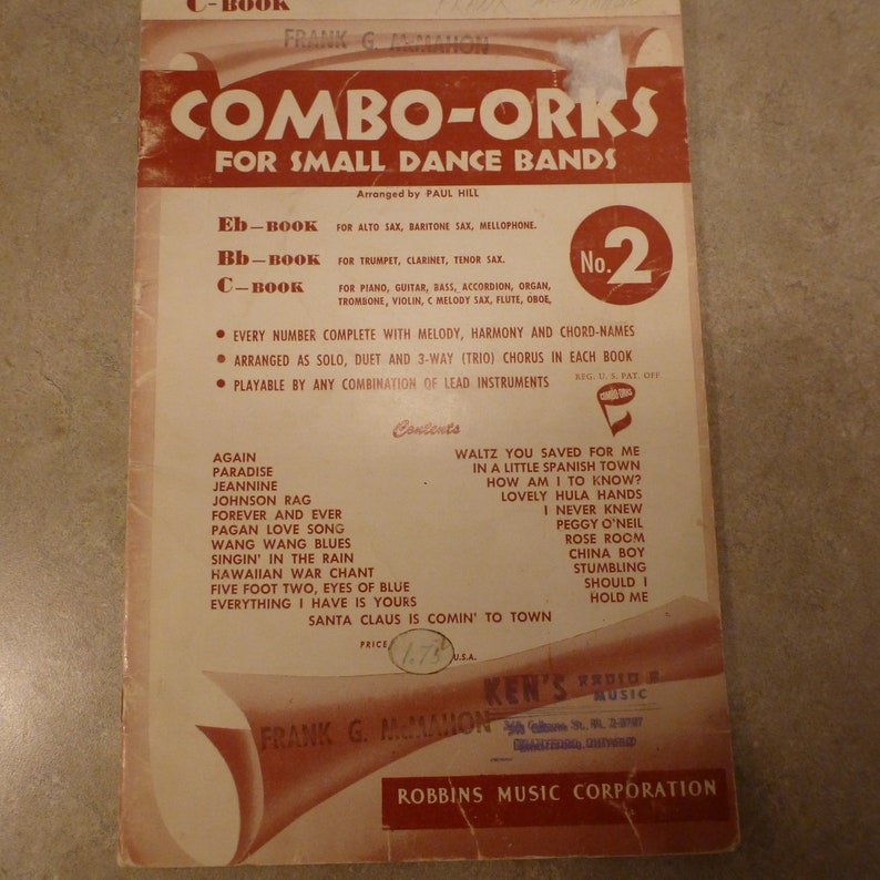 Combo-Orks for Small Dance Bands Issue #2 Sax Piano Guitar & More 1950's