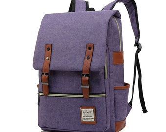 Handmade Laptop Backpack Elegant Vintage Rucksack School Shoulder Bag for Women Tear Resistant Travelling 15.6Inch Macbook