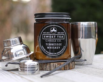 TENNESSEE WHISKEY by Sweet Tea Candle Co. | 8 oz. Amber Brown Jar Candle | Whiskey + Vanilla | 100% Soy Wax | Hand Poured