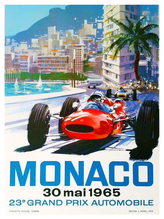Reproduction Vintage Monaco Grand Prix Poster 30th May 1965 A2