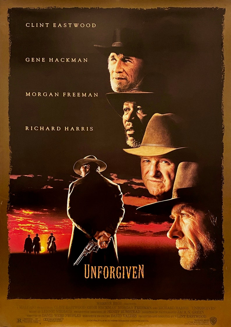 Various Sizes Available Vintage Print Unforgiven Colour Movie Poster Reproduction Clint Eastwood Home Wall Art