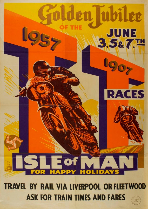 Vintage Travel advertising Reproduction poster Wall art. Isle of Man