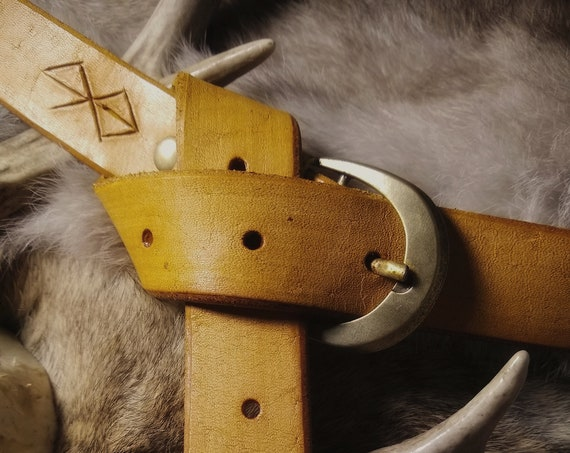 Leather Rune Carved Belt  // Everyday Heathen