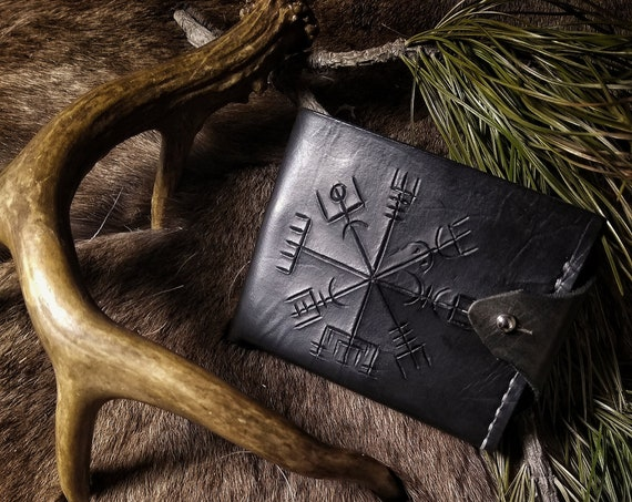 Leather Rune Carved Vegvisir Wallet // Everyday Heathen