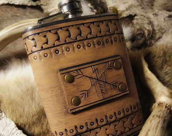 Leather Rune Carved Viking Flask  // Everyday Heathen