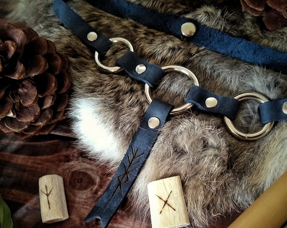Maiden, Mother, Crone Leather Choker
