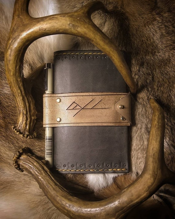 Leather Rune Carved Notebook with Pen Holder // Everyday Heathen