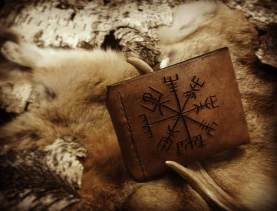 Leather Rune Carved Vegvisir Wallet // Everyday Heathen