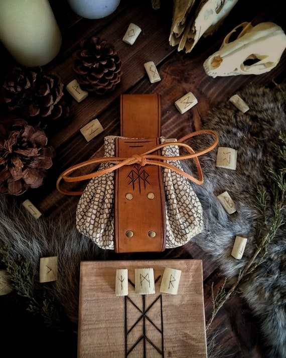 """Snakeskin Pattern Rune Carved Leather Pouch - """"Chase Your Fate"""""""