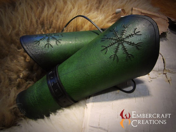Helm of Awe Rune Carved Leather Bracers // Warrior Series