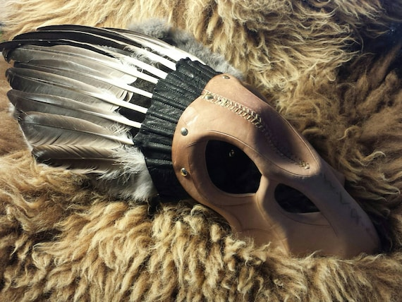 Rune Carved Leather Crow Skull Valkyrie Headdress