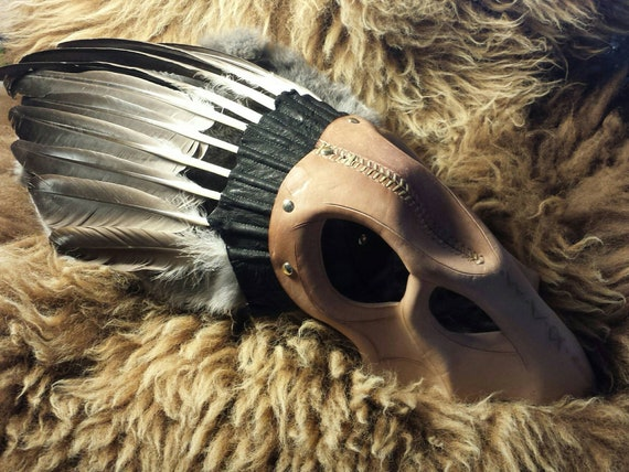 Rune Carved Leather Crow Skull Valkyrie Headdress