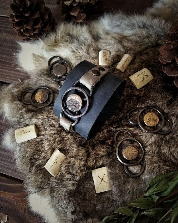 Lunar Calendar Leather Cuff Bracelet Set