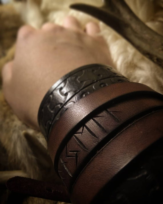Rune Carved Leather Viking Wrapped Cuff Bracelet // Everyday Heathen