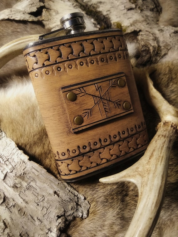 Leather Rune Carved Viking Flask  // Everyday Heathen