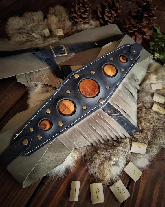 Moon Phase Leather Waist Belt