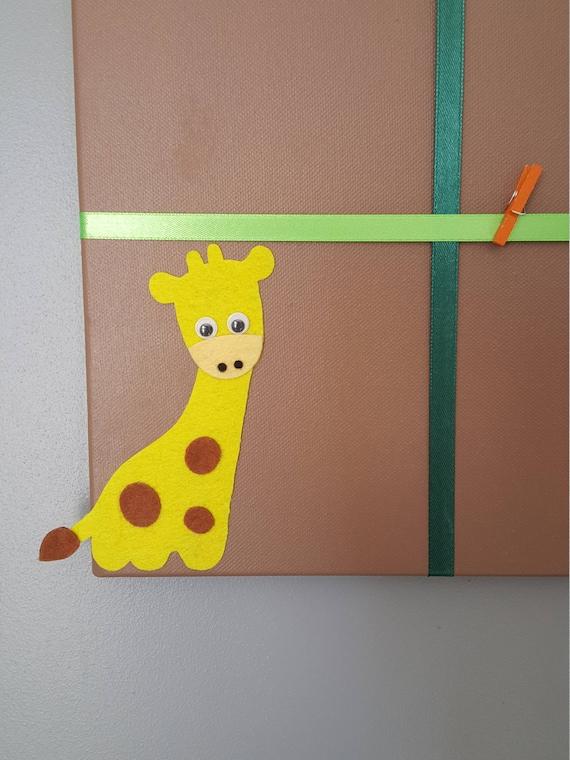pêle mêle photos chambre garçon bébé enfant jungle girafe marron ...