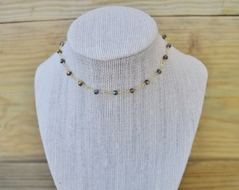 Dainty Multicolor Crystal Wire Wrapped Choker