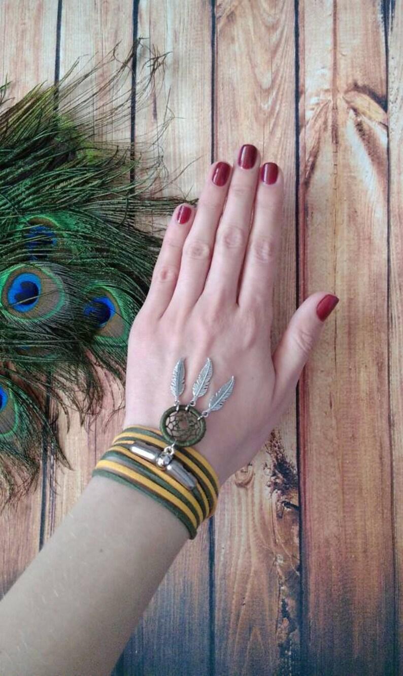 Boho style bracelet Wide bracelet Summer camp Yellow and green bracelet Lace bracelet Dreamcatcher bracelet Dream catcher pendant