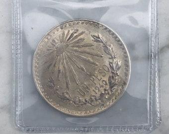 1940 silver 1 Peso Mexican coin