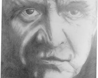 Hand Drawn in Pencil, Johnny Cash, 59 cm Square Approx