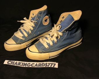 61d01b0cb35a Vintage 80s Converse Blue All Star Chuck Taylor High Top Made In USA - Size  6 1 2