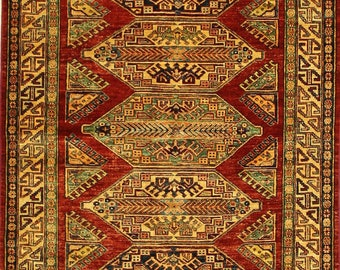 Caucasian Hand Knotted Tribal Rug 4x6